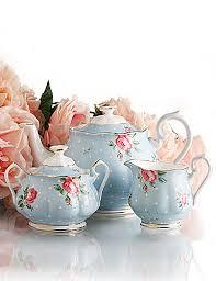 albert new country roses polka blue 3 teaset