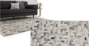 cowhide grey rug large 170 x 240cm parquet made com