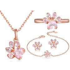 rose gold rings necklace images Roxi bear paw cat claw jewelry sets for women rose gold rings stud jpg