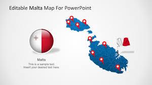 Matla Flag Malta Powerpoint Map Template Slidemodel