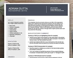functional resume template functional resume etsy