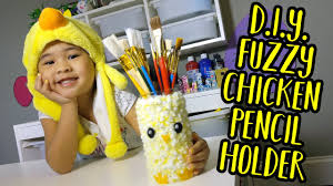 diy fuzzy chicken pencil holder pencil jar crafts for kids