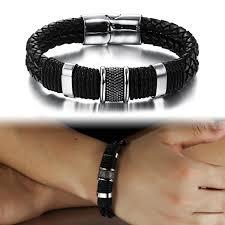 leather stainless steel bracelet images Mens genuine leather braided wristband bracelet stainless steel jpg