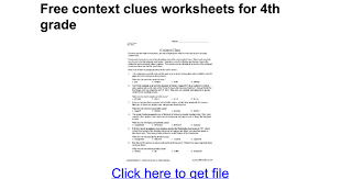 free context clues worksheets for 4th grade google docs