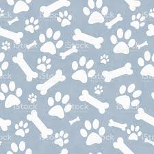blue and white dog paw prints and bones pattern background stock