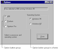 grouping options with option buttons