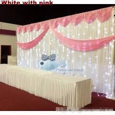 White Satin Curtains White Silk Wedding Backdrop Curtains Simple Design Swag Satin