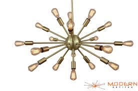 Sunburst Chandelier Sputnik Chandelier Brushed Brass 24 Inches In Diameter With 18 Arms