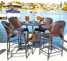Patio Furniture Bar Height Set - amazon com bennett outdoor 5pc bistro bar set w ice pail