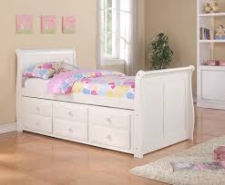 bedroom country style wooden single kids bed design with storage