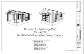 cabin garage plans 16 x 24 garage plan blueprints cabin plans