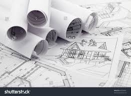 rolls architecture blueprint house drawings stock photo 83704441