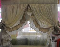 Shabby Chic Window Panels by Prairie Curtains Ruffle Bottom Curtain 10 Colors Shabby Chic