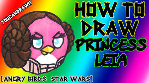 how to draw princess leia bird from angry birds star wars