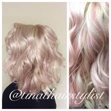 pastel pink dream highlights curly hair beach waves platinum
