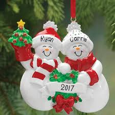 personalized snow family ornament ornaments miles kimball