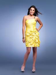 wedding party dresses mini sheath one shoulder daffodil silky heavy taffeta flower front