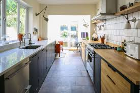 Pictures Of Galley Style Kitchens Green Industrial Style Galley Kitchen Sustainable Kitchens