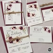 burgundy wedding invitations bohemian wedding invitation suite fall wedding by inkandveil