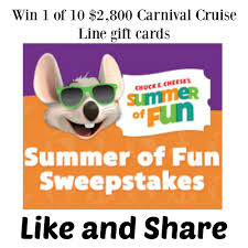 chuck e cheese u0027s summer of fun sweepstakes win 1 of 10 2 800