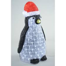 Penguin Christmas Decorations Outdoor by Acrylic Cool White Led Lit Penguin Outdoor Light