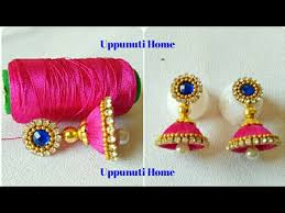 home made earrings how to make silk thread earrings diy silk thread jhumkhas