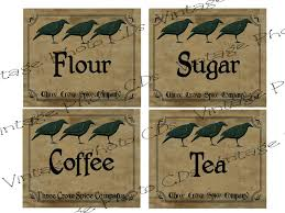 primitive canister labels fh139 flour sugar coffee tea for