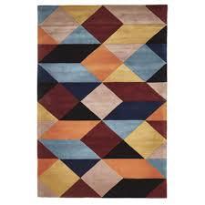 Designer Wool Area Rugs Prism Designer Wool Rug Rust Blue Navy Free Shipping Australia