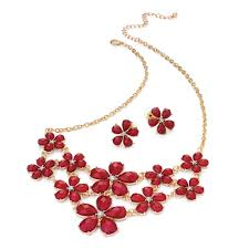 gold colour chain necklace images Gold colour crystal and red bead flower design chain necklace and jpg