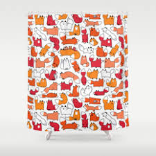 Foxy Damask Curtains Next Modern Childrens Illustration And Pattern Shower Curtains Society6