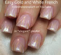 nail art tutorial easy striped nails gold and white stripe
