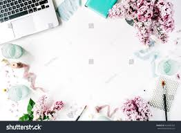 Office Desk Flowers by Royalty Free Flat Lay Top View Office Table Desk U2026 424495393