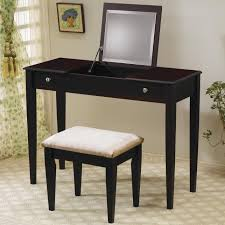 Vanity Set Ikea Bedroom Exciting Black Ikea Vanity Set With Brown Stools And