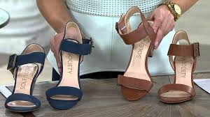 sole society leather ankle strap block heel sandals missy on qvc