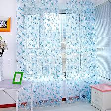 Blue Butterfly Curtains Butterfly Flower Bedroom Window Door Balcony Sheer Fancy Tulle
