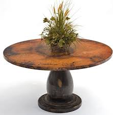 Dining Room Awesome Round Copper Table Wood Pedestal Base   For - Copper kitchen table