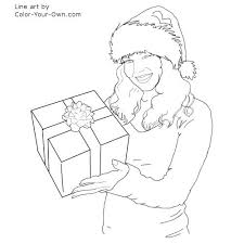 christmas santa u0027s helper with a gift coloring page
