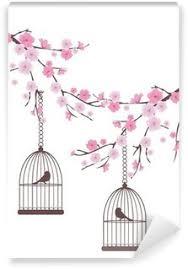 uccelli in gabbia quadro su tela albero con gli uccelli e gabbie per uccelli