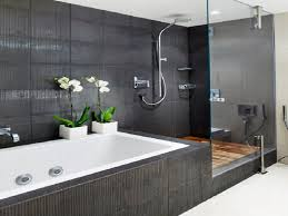 black tiles shower areas wall with steel rain head shower with