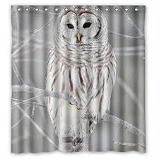 Owl Fabric Shower Curtain Owl Shower Curtains Kritters In The Mailbox Owl Shower Curtain