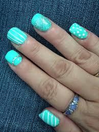 acrylic nails with aqua blue shellac nails nails pinterest