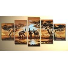 forest grassland elephants home decor oil painting