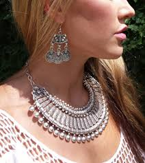 earrings statement necklace images Vintage silver retro coin fringe bib statement necklace earrings jpg