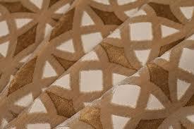 Geometric Fabrics Upholstery Cordova Retro Geometric Cut Velvet Upholstery Fabric Gold Sand Almond