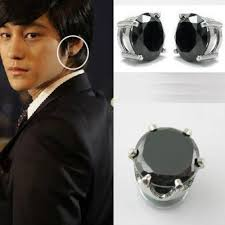 black ear studs pair cz black magnetic earring stud ear