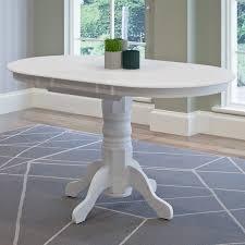 Pedestal Dining Table Corliving Dillon White Oval Extendable Pedestal Dining Table With