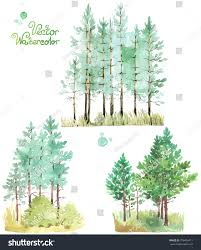 set watercolor green pine trees vector stock vector 278495411