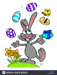 cartoon caricature of easter bunny juggling dyed eggs and spring