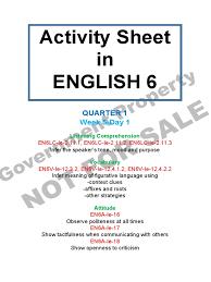 Irony Worksheet Activity Sheet English 6 Quarter 1 Week 5 Day 1 Fast Food Foods