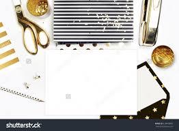 flat lay office white desk envelope stock photo 418440802